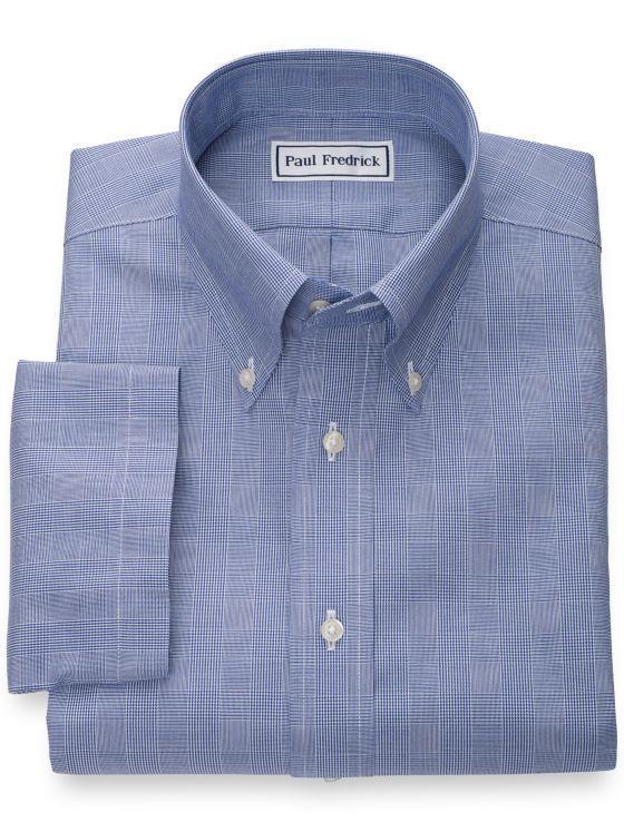 Non-Iron Cotton Glen Plaid Short Sleeve Shirt with Contrast Trim