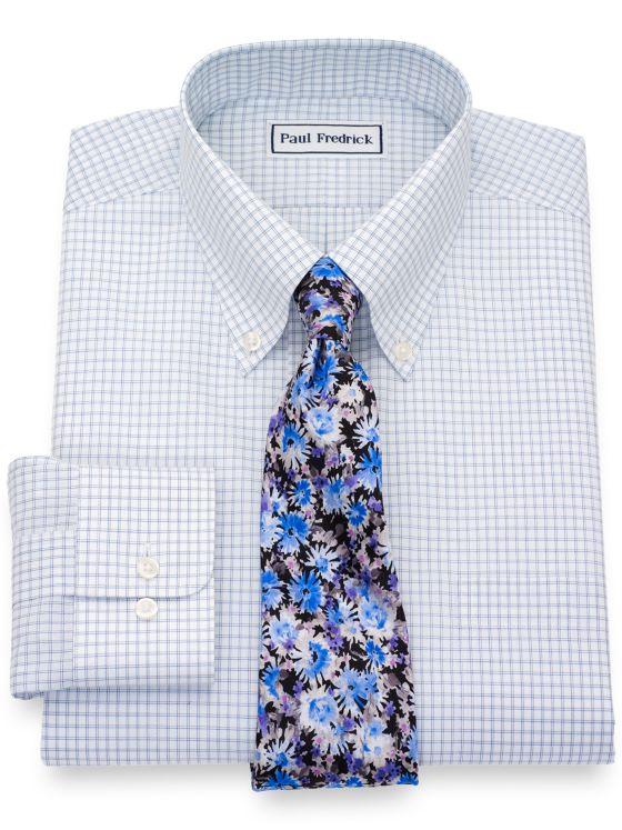Non-Iron Cotton Broadcloth Check Dress Shirt