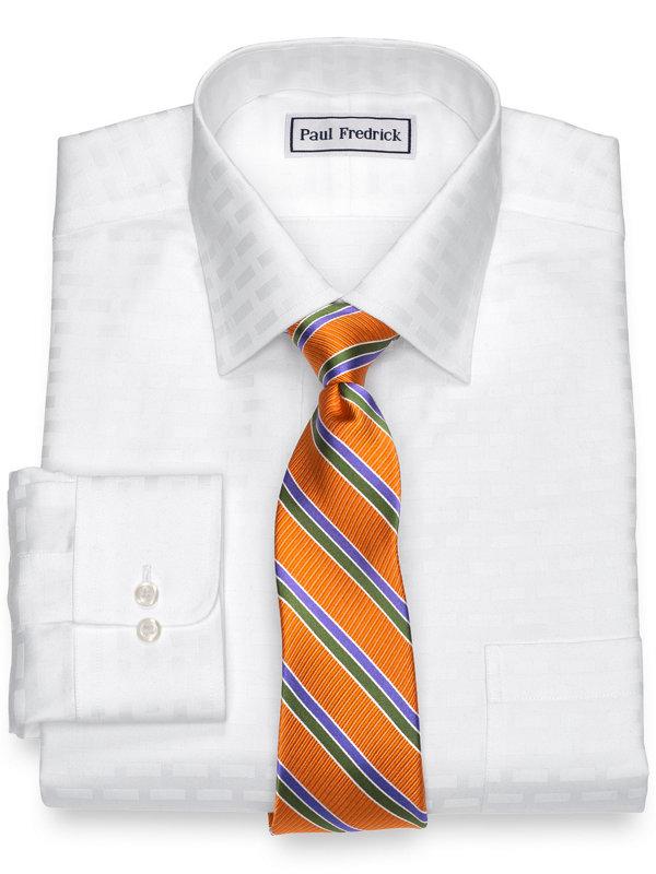 Tailored Fit Non-Iron Pure Cotton Brick Pattern Dress Shirt