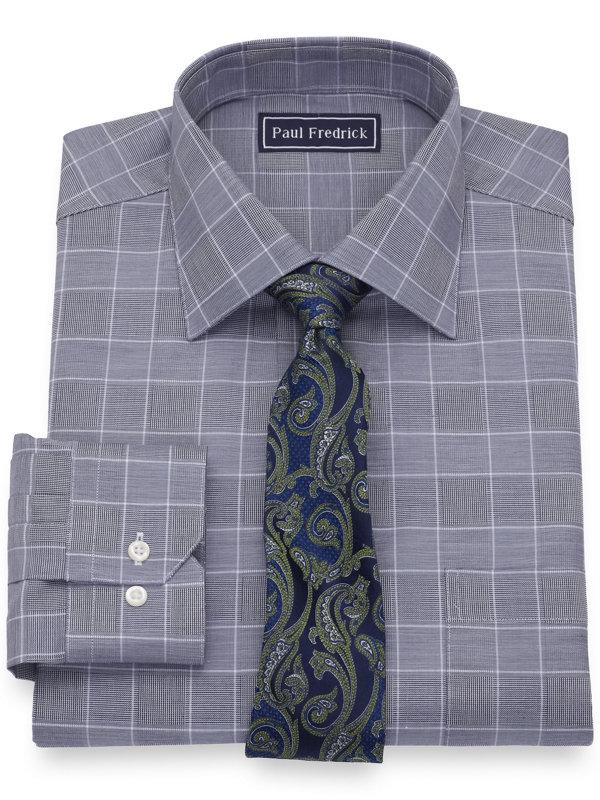 Slim Fit Pure Cotton Glen Plaid Dress Shirt