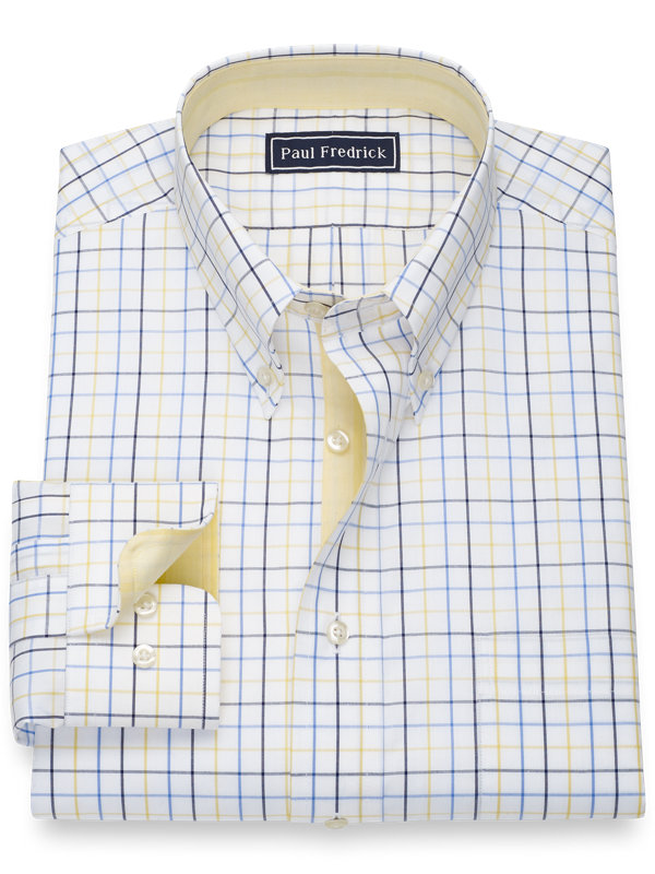 Slim Fit Pure Cotton Tattersall Dress Shirt with Contrast Trim