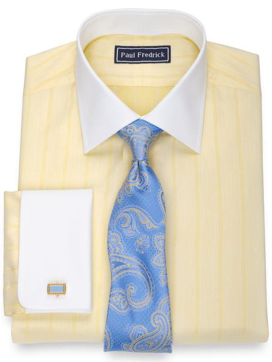 Slim Fit Pure Cotton Herringbone French Cuff Dress Shirt
