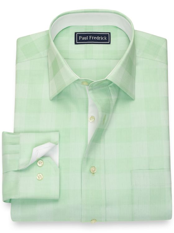 Pure Cotton Gingham Dress Shirt with Contrast Trim