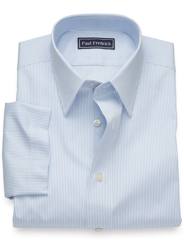 Pure Cotton Fine Line Stripe Short Sleeve Shirt with Contrast Trim