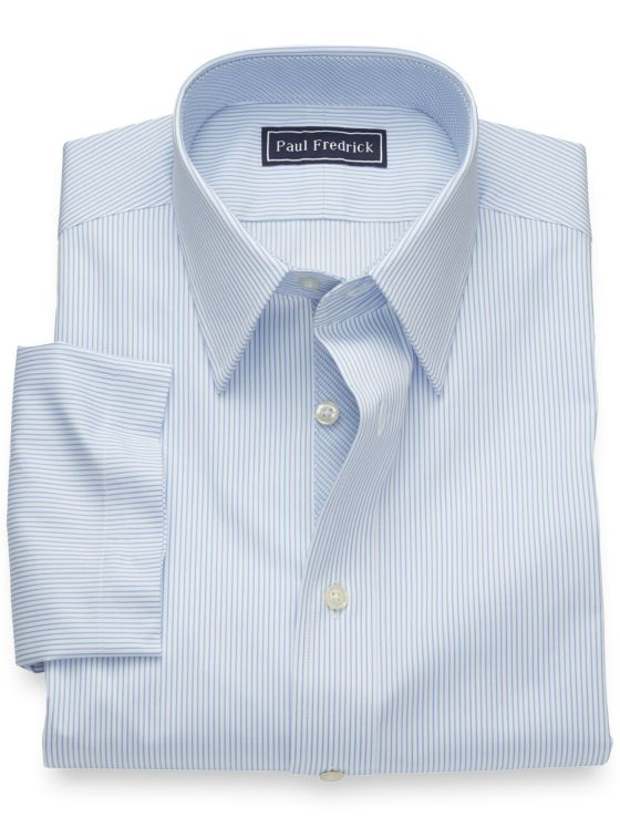 Slim Fit Pure Cotton Fine Line Stripe Short Sleeve Shirt with Contrast Trim
