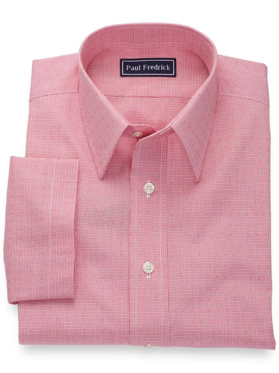 Slim Fit Pure Cotton Mini Check Short Sleeve Shirt