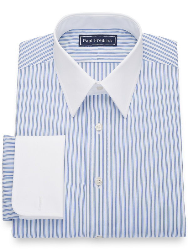 Pure Cotton Shadow Stripe White Dress Shirt