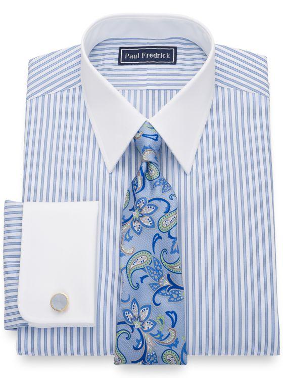 Slim Fit Pure Cotton Shadow Stripe White Dress Shirt