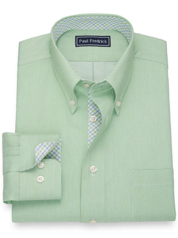 Slim Fit Pure Cotton Fine Line Stripe Dress Shirt with Contrast Trim