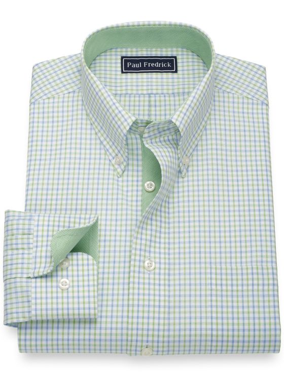 Pure Cotton Check Dress Shirt with Contrast Trim