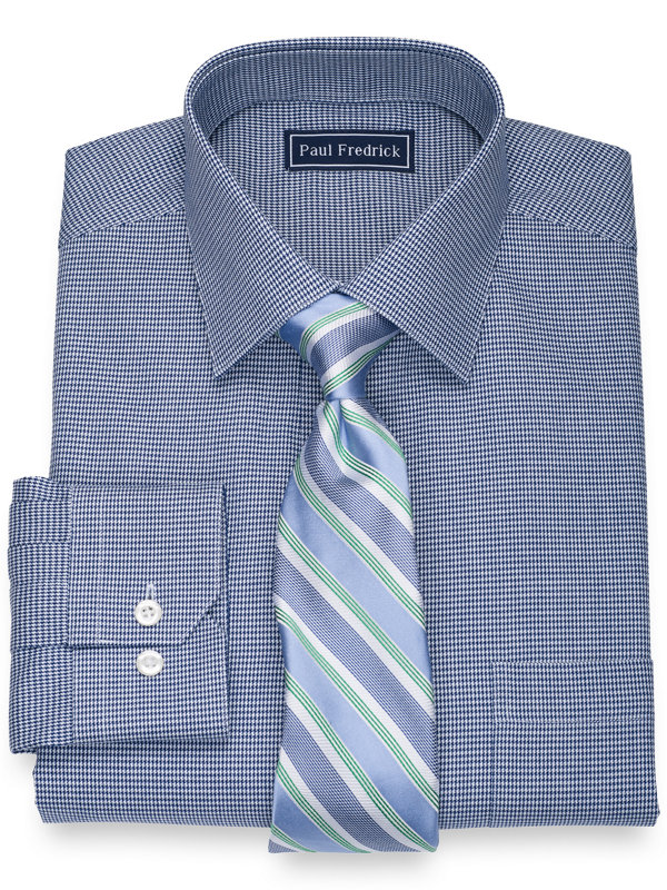 Slim Fit Pure Cotton Houndstooth Dress Shirt