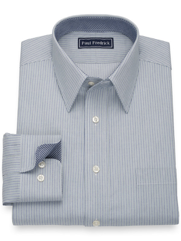 Pure Cotton Alternating Stripes Dress Shirt with Contrast Trim