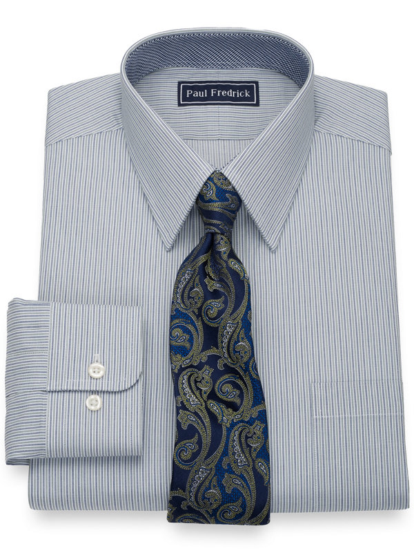 Slim Fit Pure Cotton Alternating Stripes Dress Shirt with Contrast Trim