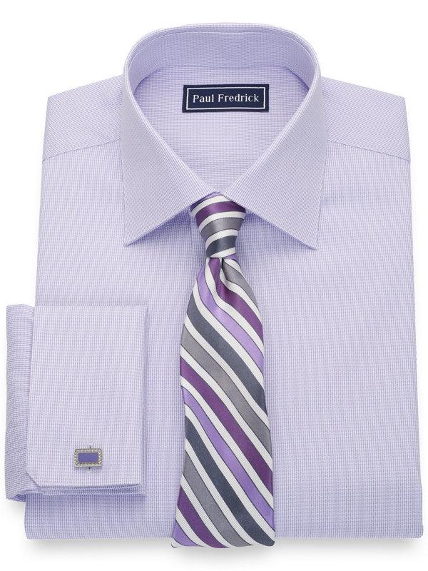 Pure Cotton Textured Pattern French Cuff Dress Shirt