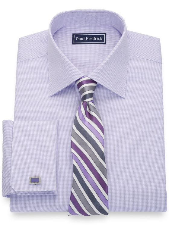 Pure Cotton Textured Pattern French Cuff Dress Shirt
