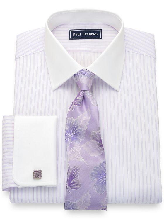 Slim Fit Pure Cotton Twill Stripe Dress Shirt