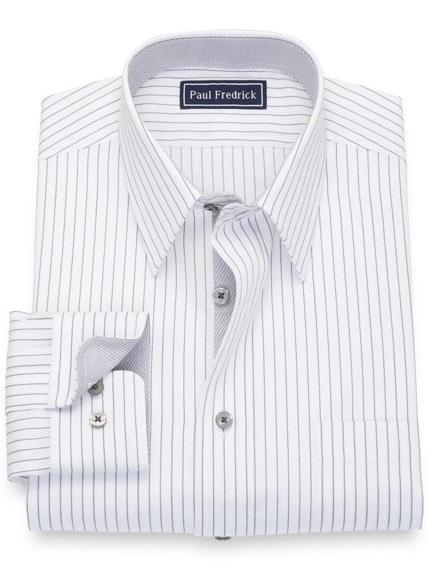 Pure Cotton Fine Line Stripe Dress Shirt with Contrast Trim