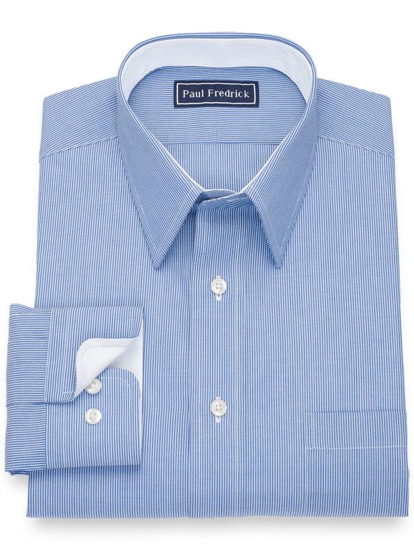 Pure Cotton Stripe Dress Shirt with Contrast Trim