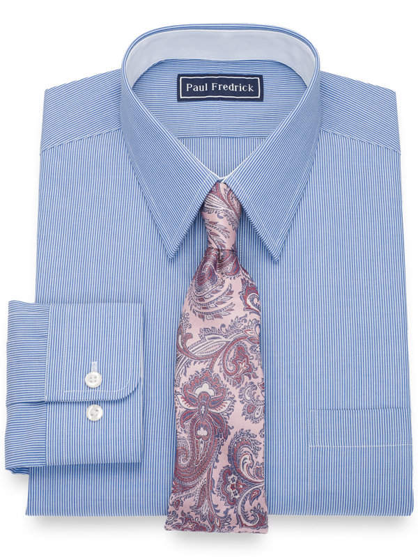 Slim Fit Pure Cotton Stripe Dress Shirt with Contrast Trim