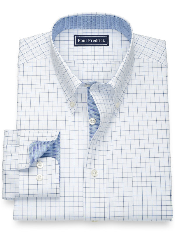Slim Fit Pure Cotton Check Dress Shirt with Contrast Trim