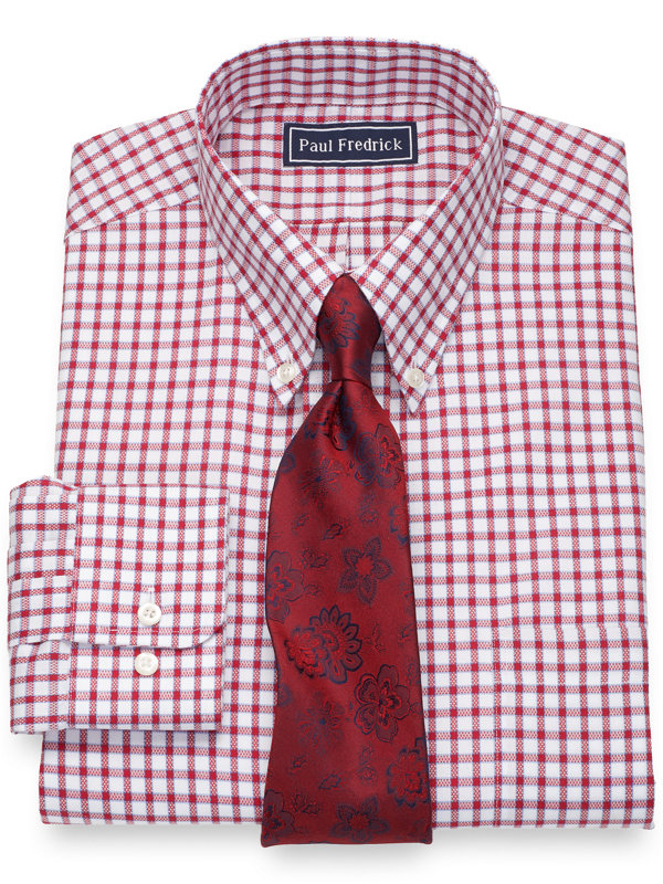 Slim Fit Pure Cotton Windowpane Dress Shirt