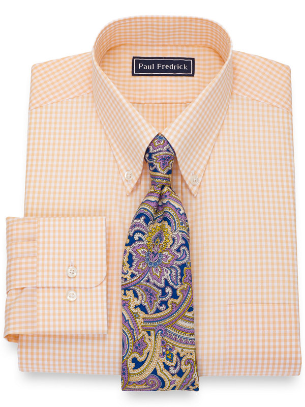 Slim Fit Pure Cotton Gingham Dress Shirt