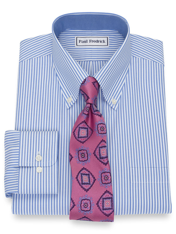 Tailored Fit Non-Iron Cotton Pinpoint Stripe Dress Shirt with Contrast Trim