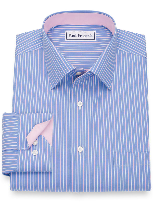 Slim Fit Non-Iron Cotton Pinpoint Stripe Dress Shirt with Contrast Trim