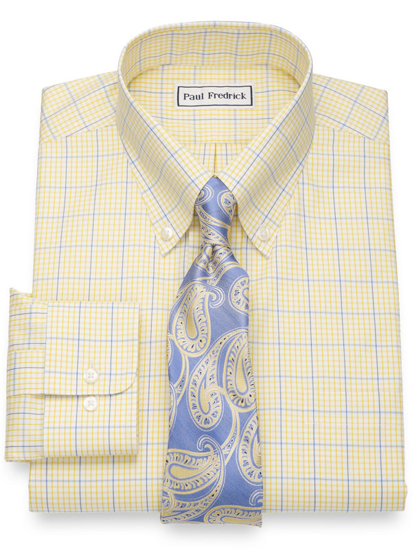 Tailored Fit Non-Iron Cotton Pinpoint Windowpane Dress Shirt