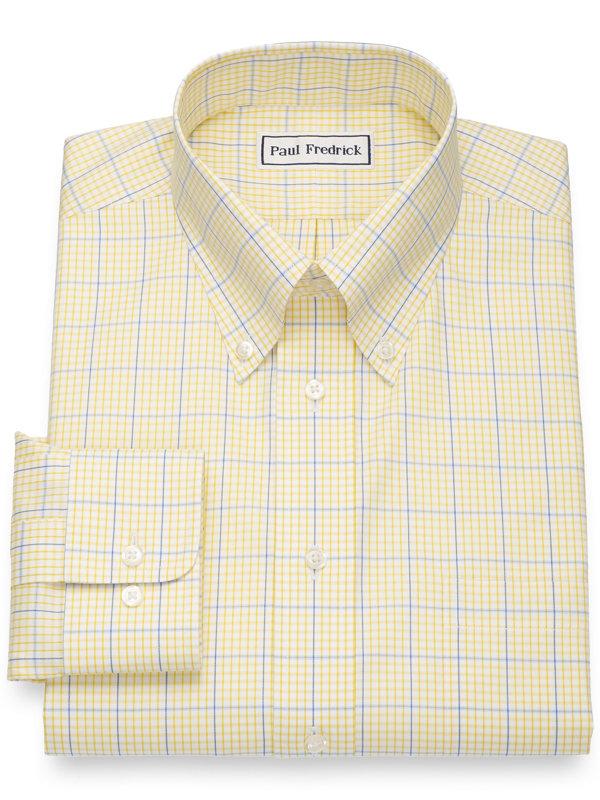 Slim Fit Non-Iron Cotton Pinpoint Windowpane Dress Shirt