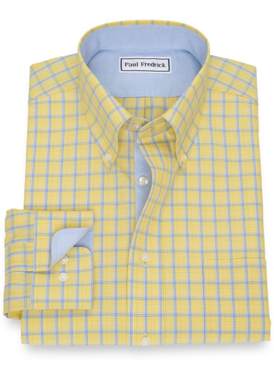 Slim Fit Non-Iron Cotton Broadcloth Grid Dress Shirt with Contrast Trim