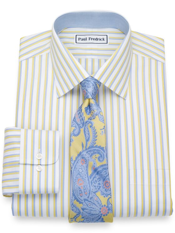 Non-Iron Cotton Pinpoint Alternating Stripes Dress Shirt with Contrast Trim