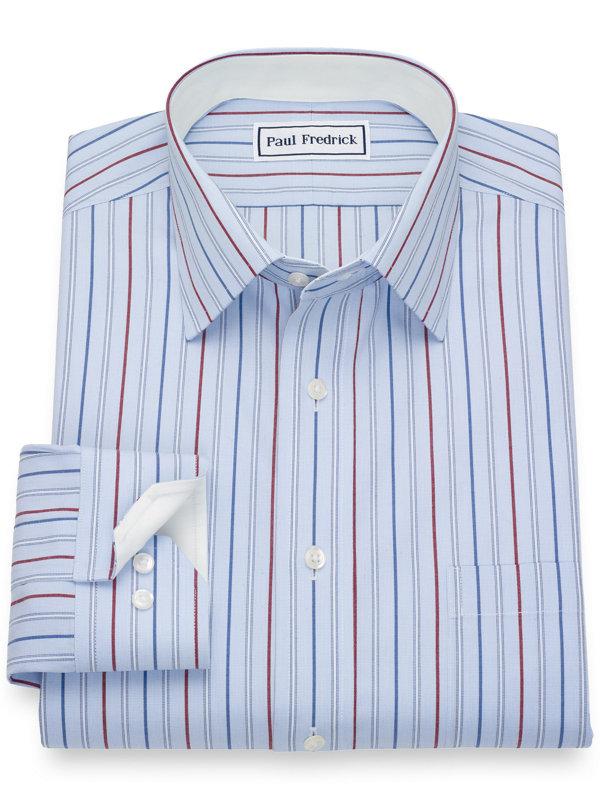 Non-Iron Cotton Pinpoint Stripe Dress Shirt with Contrast Trim