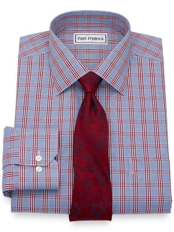 Non-Iron Cotton Pinpoint Check Dress Shirt