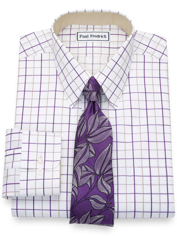 Tailored Fit Non-Iron Cotton Pinpoint Grid Dress Shirt with Contrast Trim