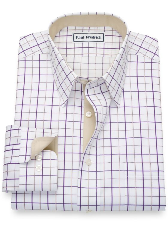 Slim Fit Non-Iron Cotton Grid Dress Shirt with Contrast Trim