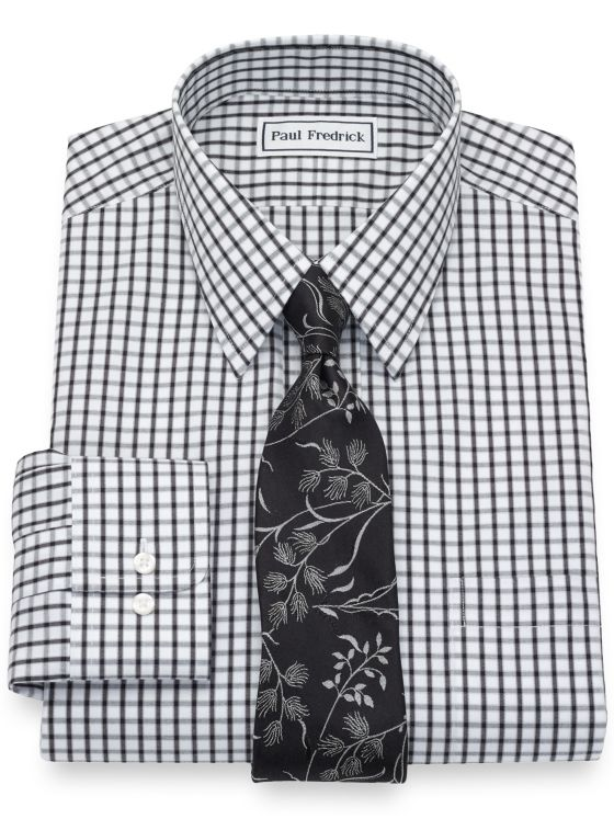 Tailored Fit Non-Iron Cotton Pinpoint Check Dress Shirt