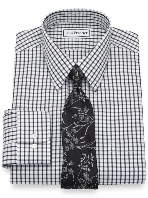 Slim Fit Non-Iron Cotton Pinpoint Check Dress Shirt