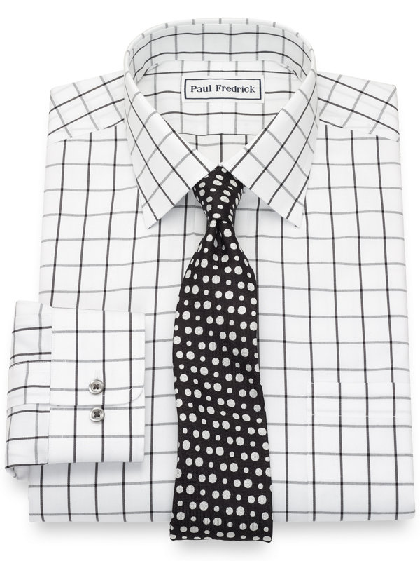 Non-Iron Cotton Pinpoint Windowpane Dress Shirt