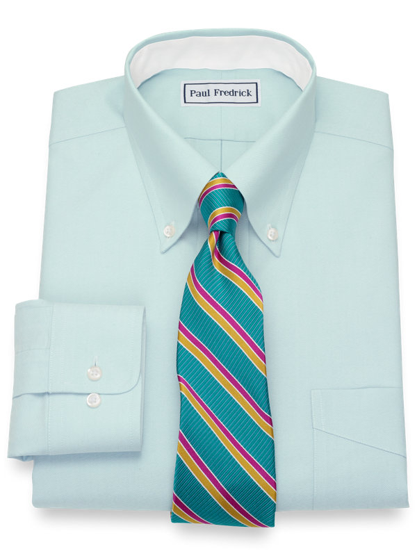 Slim Fit Non-Iron Cotton Pinpoint Solid Dress Shirt with Contrast Trim