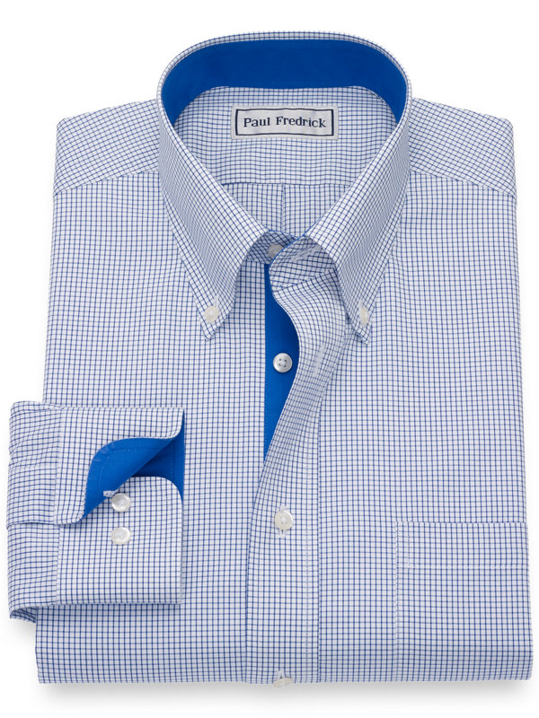 Impeccable Non-Iron Cotton Pinpoint Check Button Down Dress Shirt
