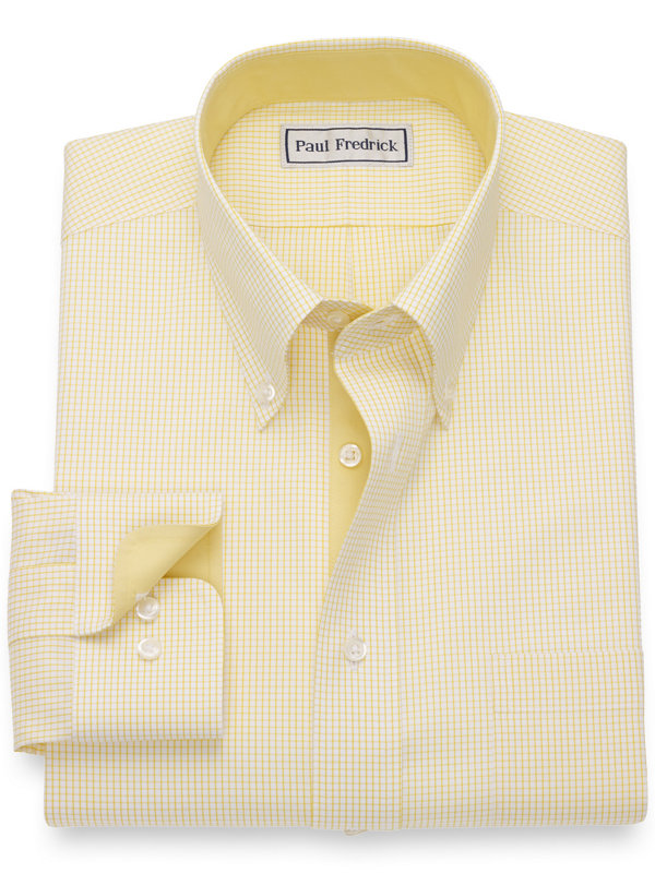Tailored Fit Impeccable Non-Iron Cotton Pinpoint Check Button Down Dress Shirt