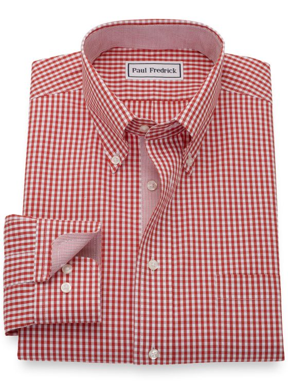 Non-Iron Cotton Pinpoint Gingham Dress Shirt with Contrast Trim