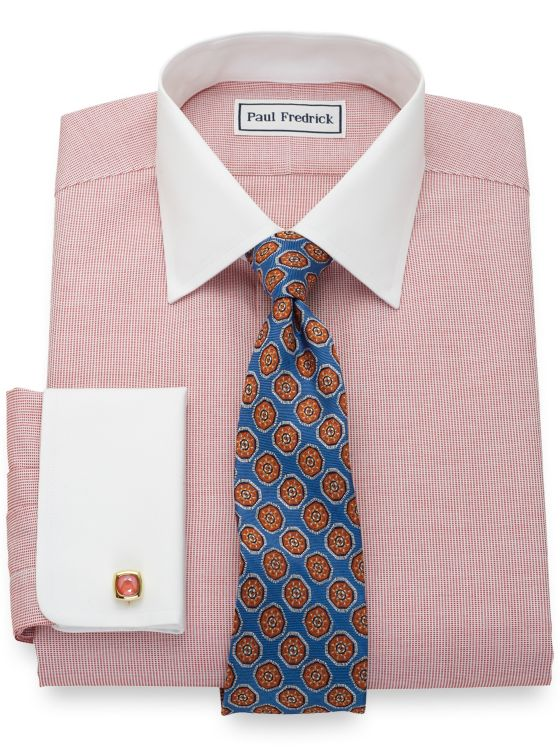 Tailored Fit Non-Iron Pure Cotton Textured Solid Dress Shirt