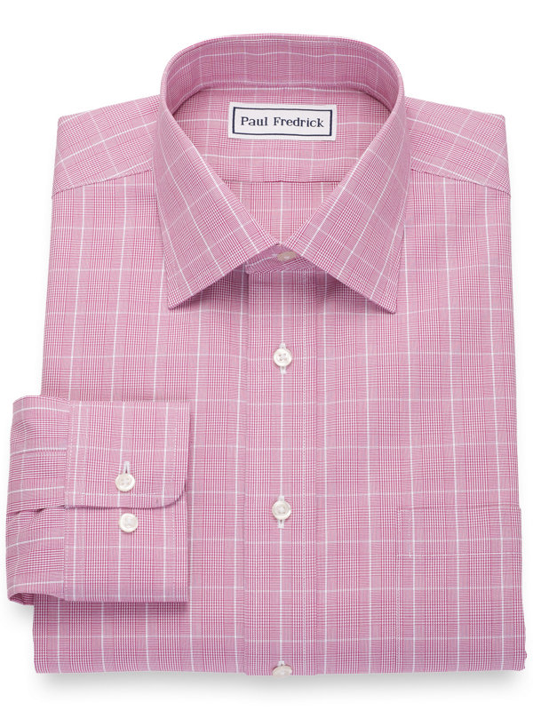 Non-Iron Cotton Broadcloth Glen Plaid Dress Shirt