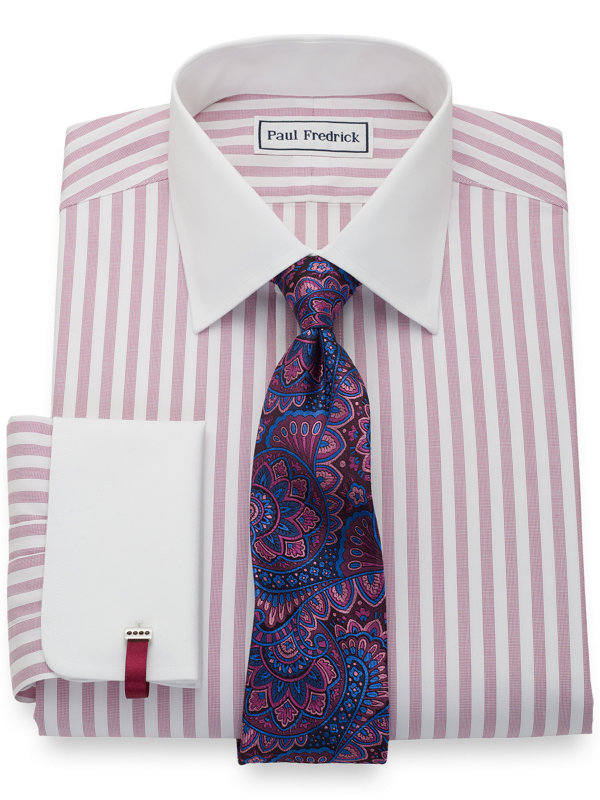 Tailored Fit Non-Iron Cotton Pinpoint Stripe Dress Shirt