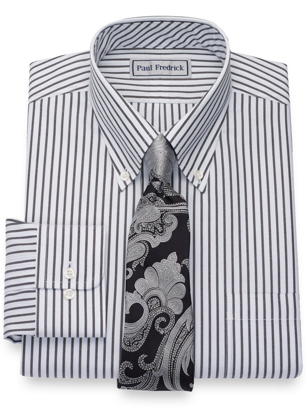 Impeccable Non-Iron Cotton Pinpoint Stripe Button Down Dress Shirt