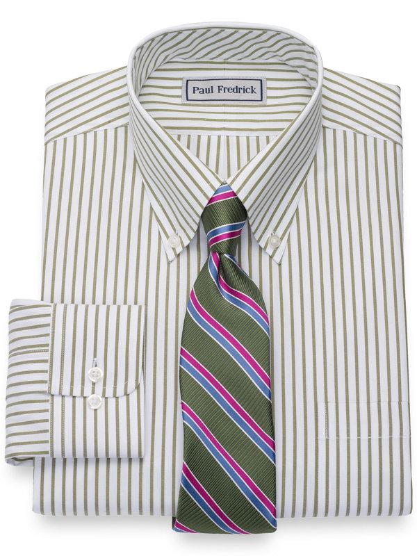 Impeccable Non-Iron Cotton Pinpoint Stripe Button Down Dress Shirt