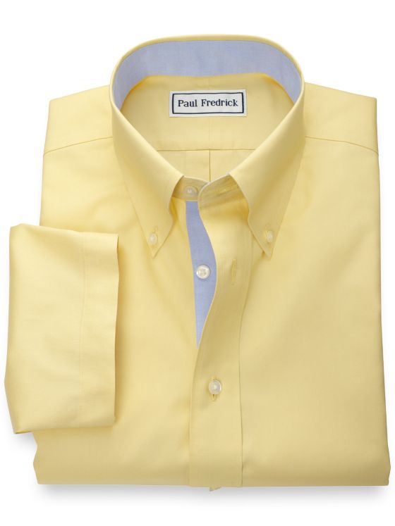 Slim Fit Non-Iron Cotton Pinpoint Solid Short Sleeve Shirt with Contrast Trim