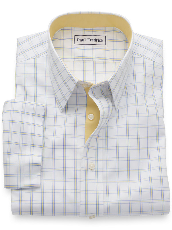 Slim Fit Non-Iron Cotton Windowpane Short Sleeve Shirt with Contrast Trim